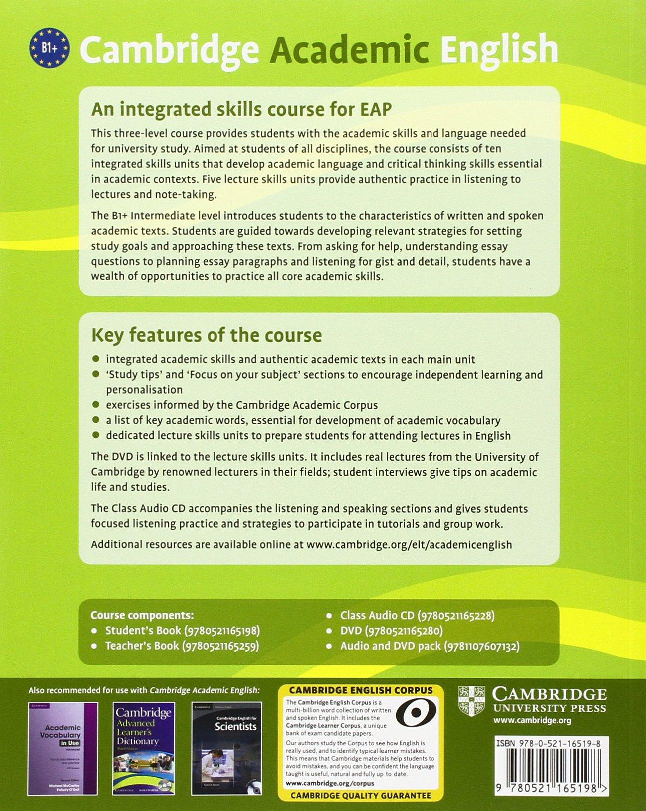 Cambridge academic english b1 intermediate students book an cambridge academic english b1 intermediate students book an integrated skills course for eap livros na amazon brasil 9780521165198 fandeluxe Images
