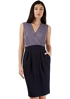 Womens Gathered Waist V-Back Asymmetric Sleeveless Dress Closet