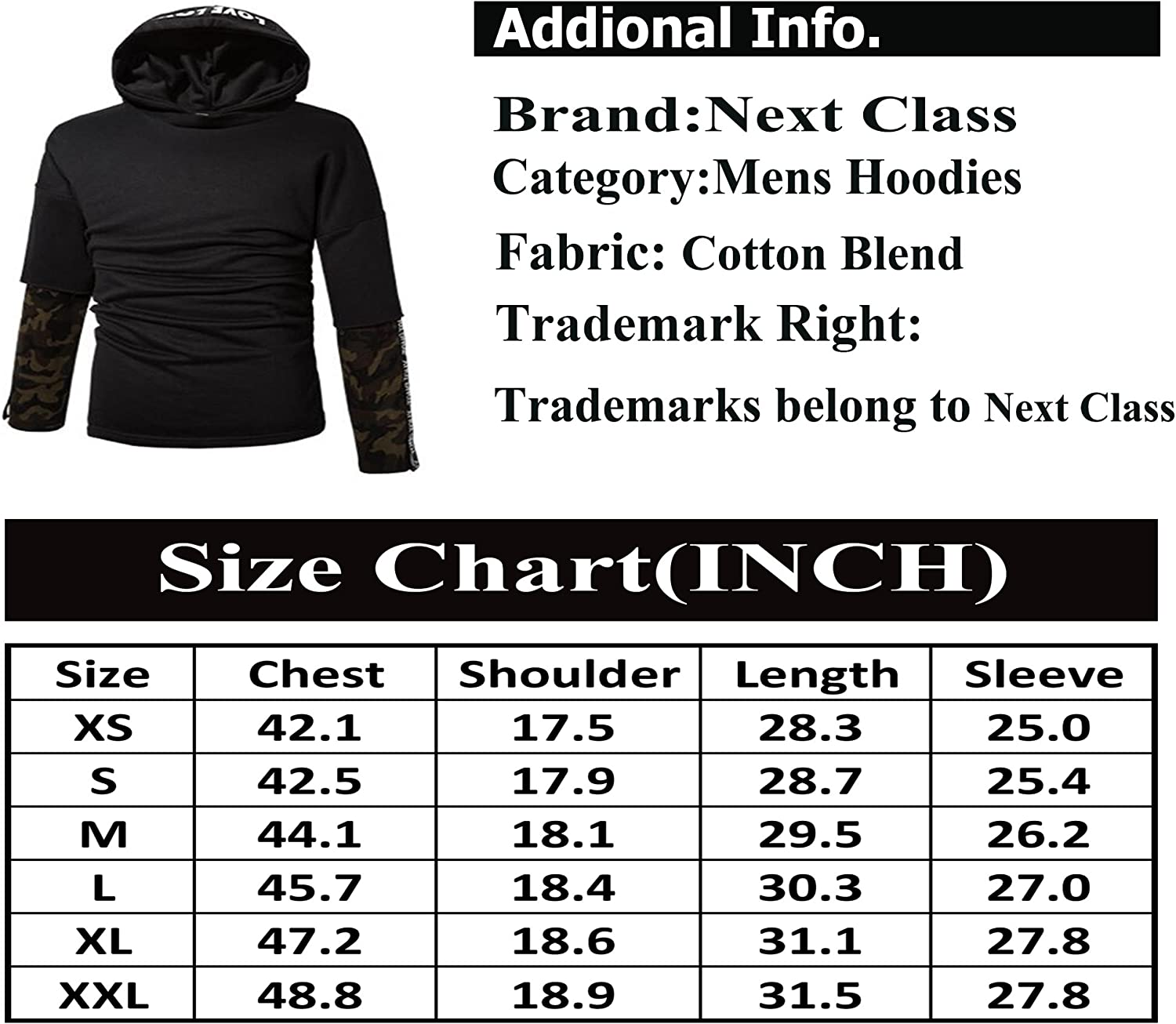 Bstge Mens Hip Hop Fashion Alphabet Pirnt Hoodie Sweatshirt
