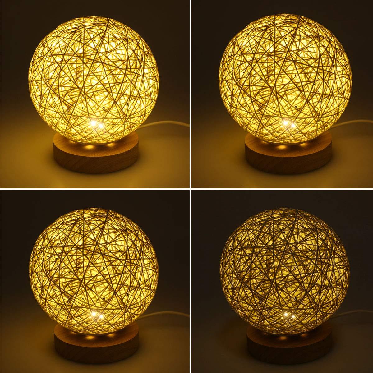 Rotin veilleuse supertech boule en rotin led table de chevet lampe de nuit pour salon chambre - Veilleuse pour salon ...