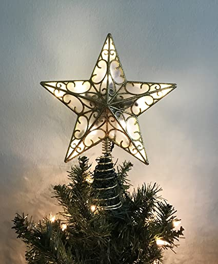 Kurt Adler Christmas Tree Lighted Star Tree Topper 11 Inch With Plug In Chord With 5 Feet Cord Gold