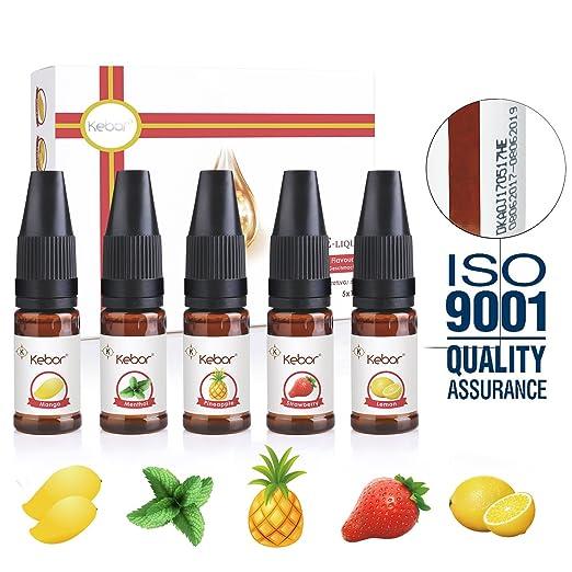 26 opinioni per Kebor Liquido Sigaretta Elettronica Frutta 5x 10 Milliliter VG 70 Aromi Svapo
