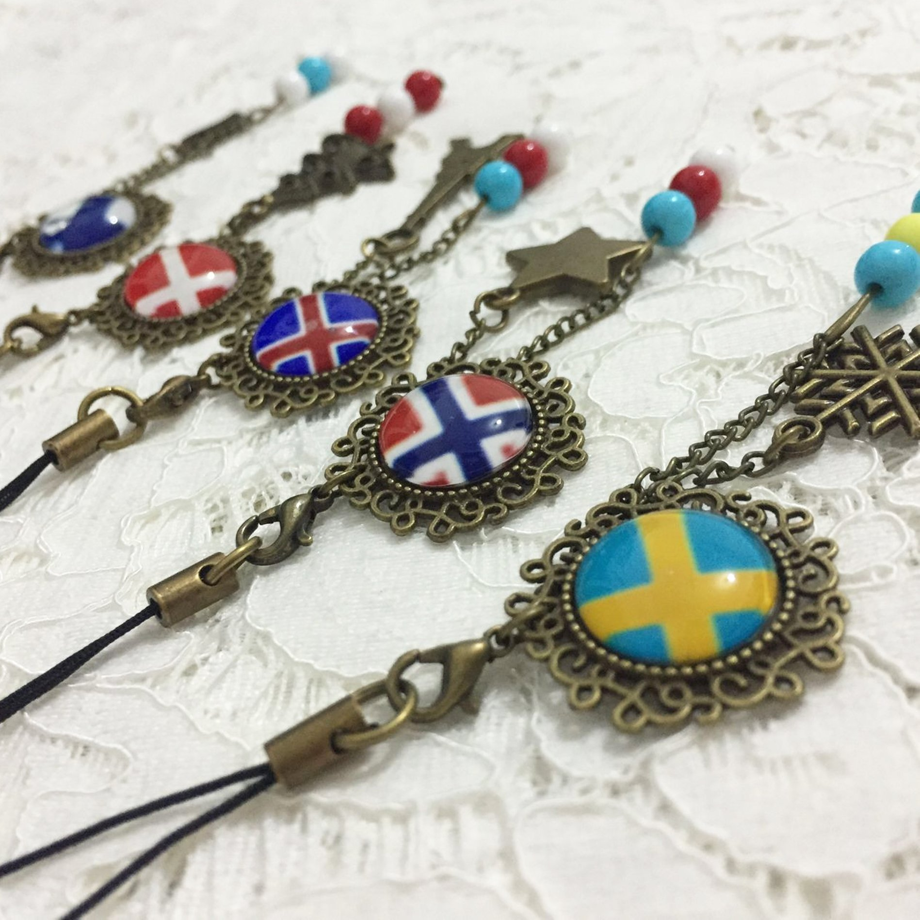 Dreamcosplay Axis Powers Hetalia Nordic Logo 5PCS Key chains Pendants Cosplay