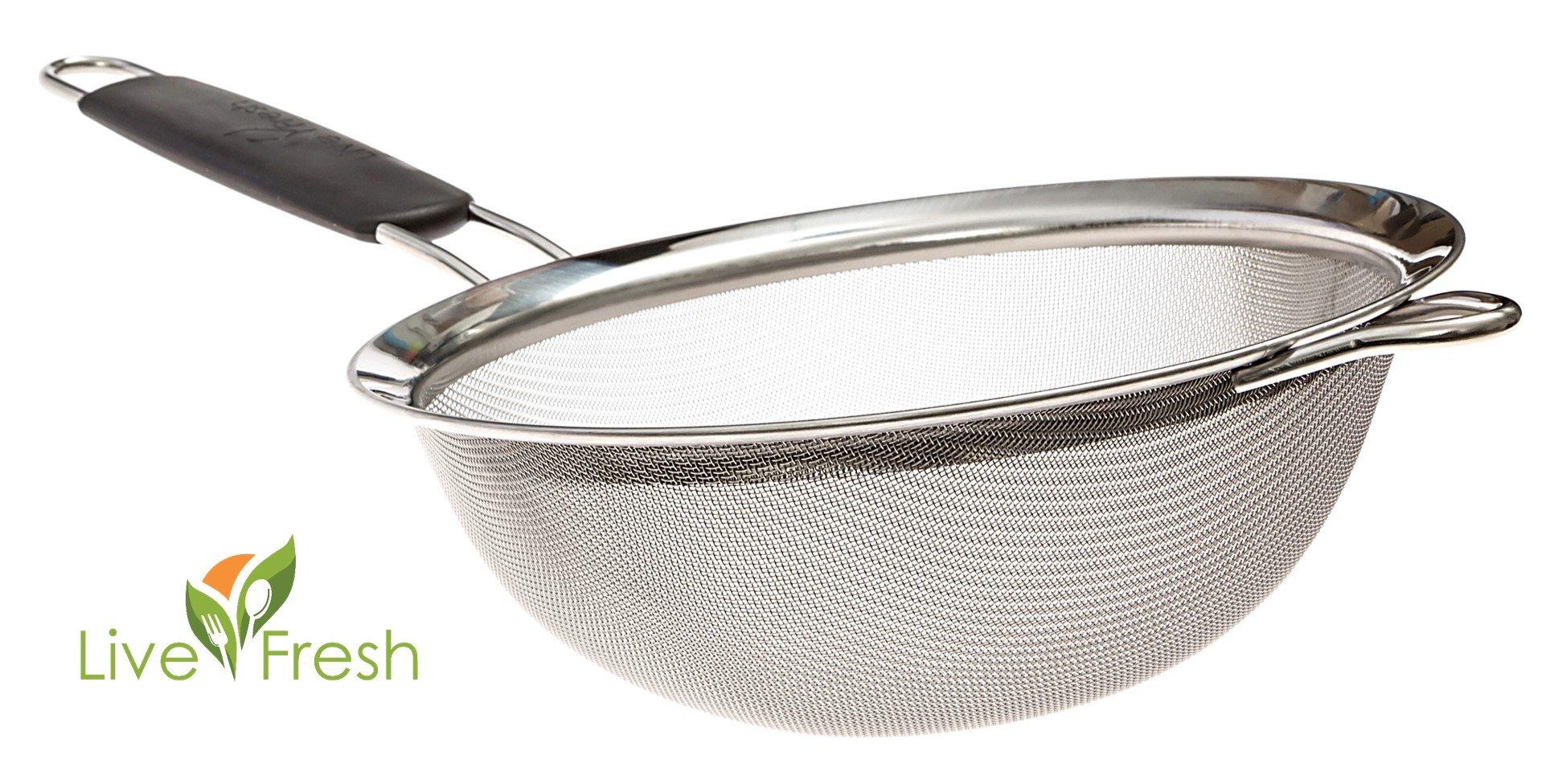 Colador LiveFresh premium con malla fina de acero inoxidable - 19,5 cm - Cuele