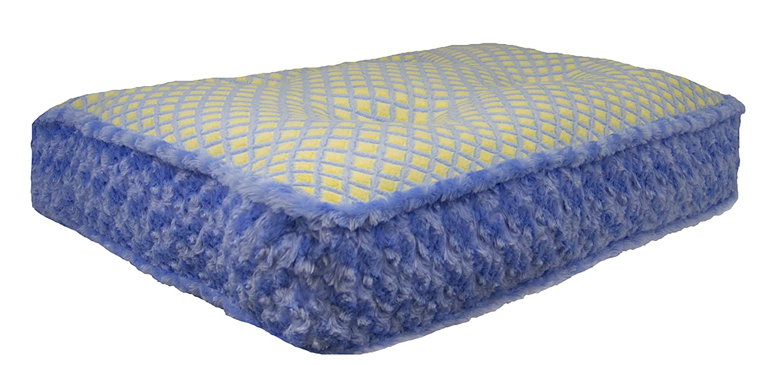 M- 36\ BESSIE AND BARNIE bluee Sky Robin Egg Extra Plush Faux Fur Luxury Sicilian Rectangle Pet Dog Bed (Multiple Sizes)
