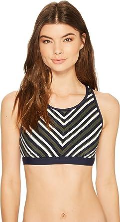 f1a736e4e61343 Tommy Hilfiger Women s True Tommy Stripe High Neck X-Back Crop Bikini Top  Military Green
