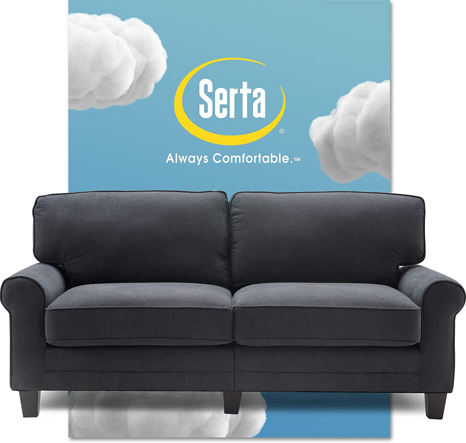 Serta Copenhagen Sofa Couch for Two People, Pillowed Back Cushions and Rounded Arms, Durable Modern Upholstered Fabric, 73