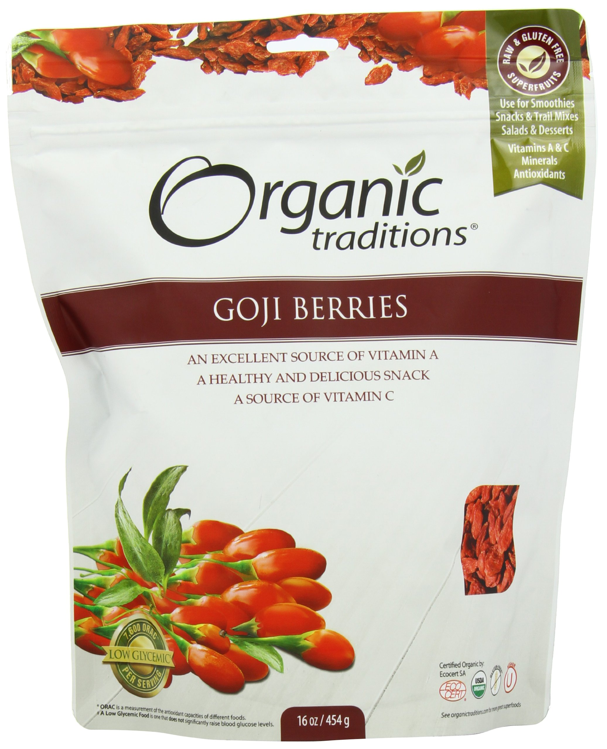 Organic Traditions Goji Berries, 16 Ounce