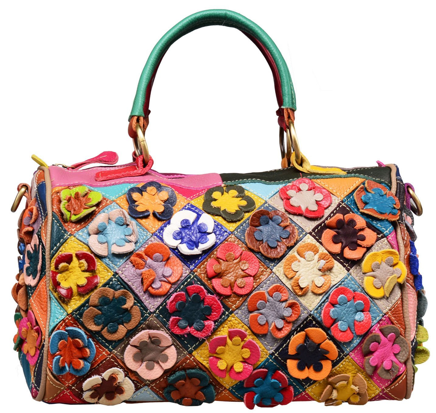 563bc20b1a2 Heshe Hobo Organizer Multi-color Stitching Splicing Shoulder Cross Body Top  Handle Bags Handbags for Women with Flowers Summer Style (Colorful-2B4020)  ...