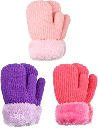 Cute Warm Fleece Lined Knit Thick Thermal Gloves For Boys Girls Winter Mitten Gloves For Baby Kids Toddler Infant Newborn