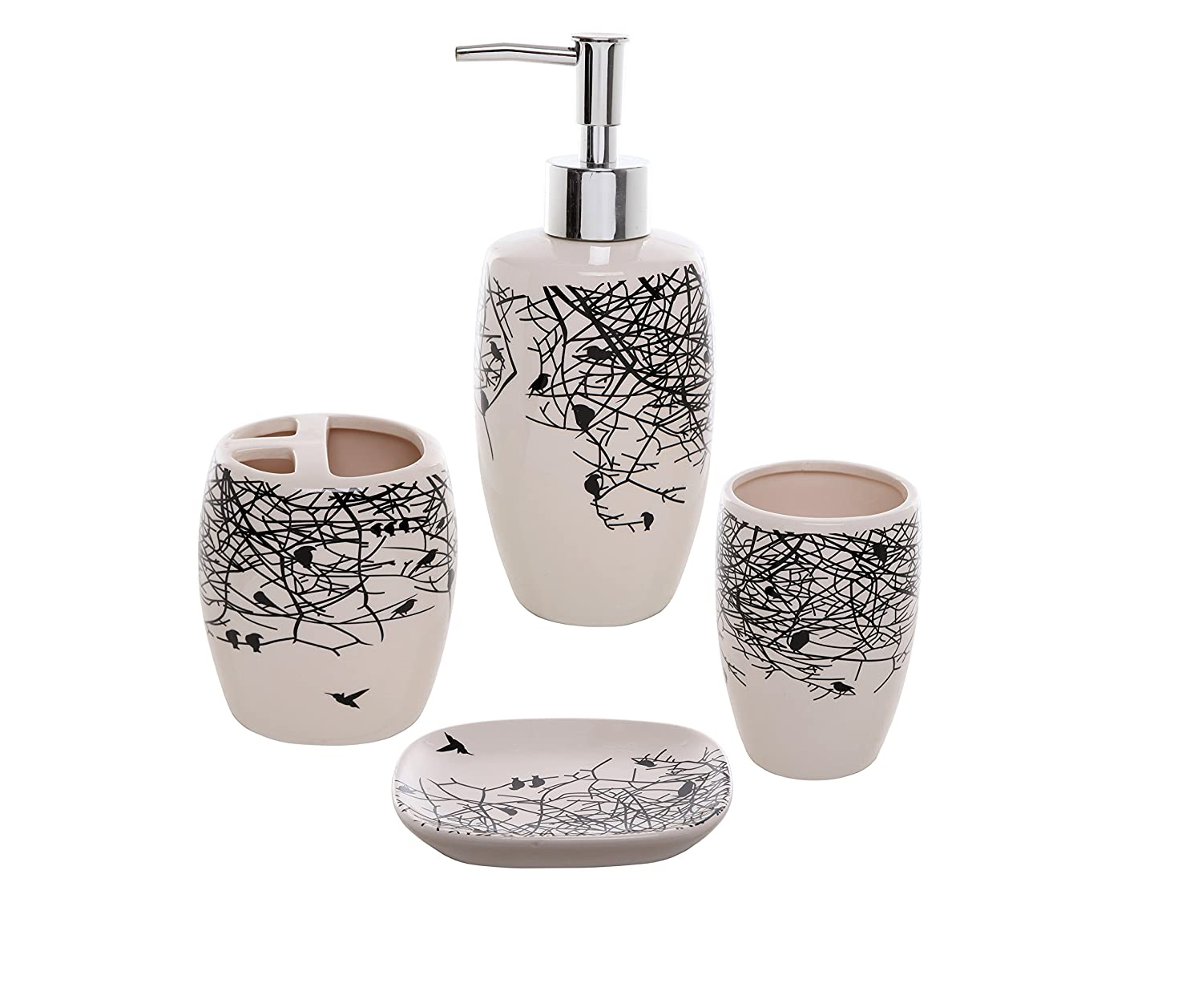 Amazon.com: 4 Piece Beige Ceramic Bathroom Accessories Set ...
