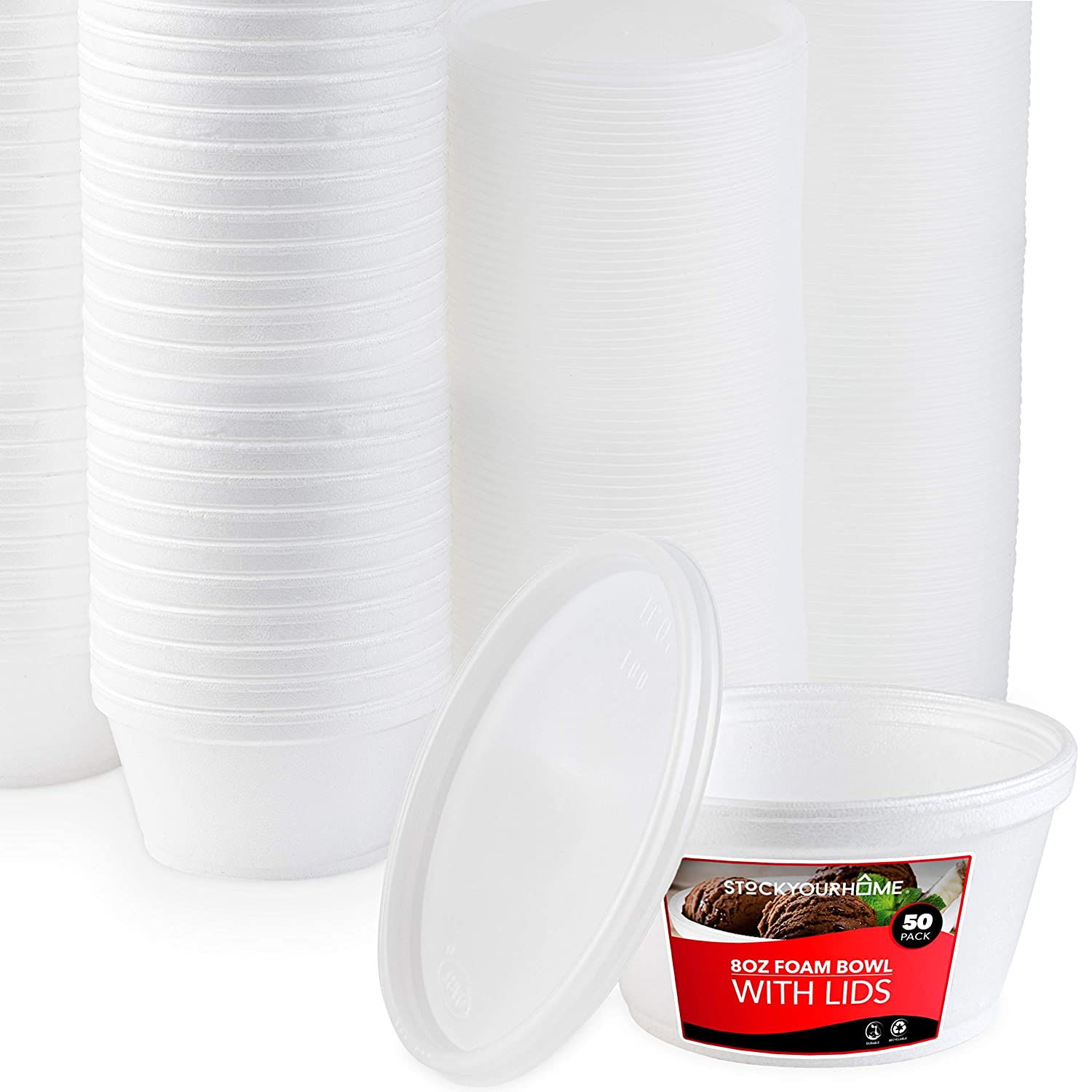 Stock Your Home 8 Ounce Foam Bowls with Lids (50 Count) - Styrofoam Bowls with Lids - Insulated to Go Foam Cups - to Go Containers for Soup, Oatmeal, Ice Cream, Delis, Cafes, Restaurants