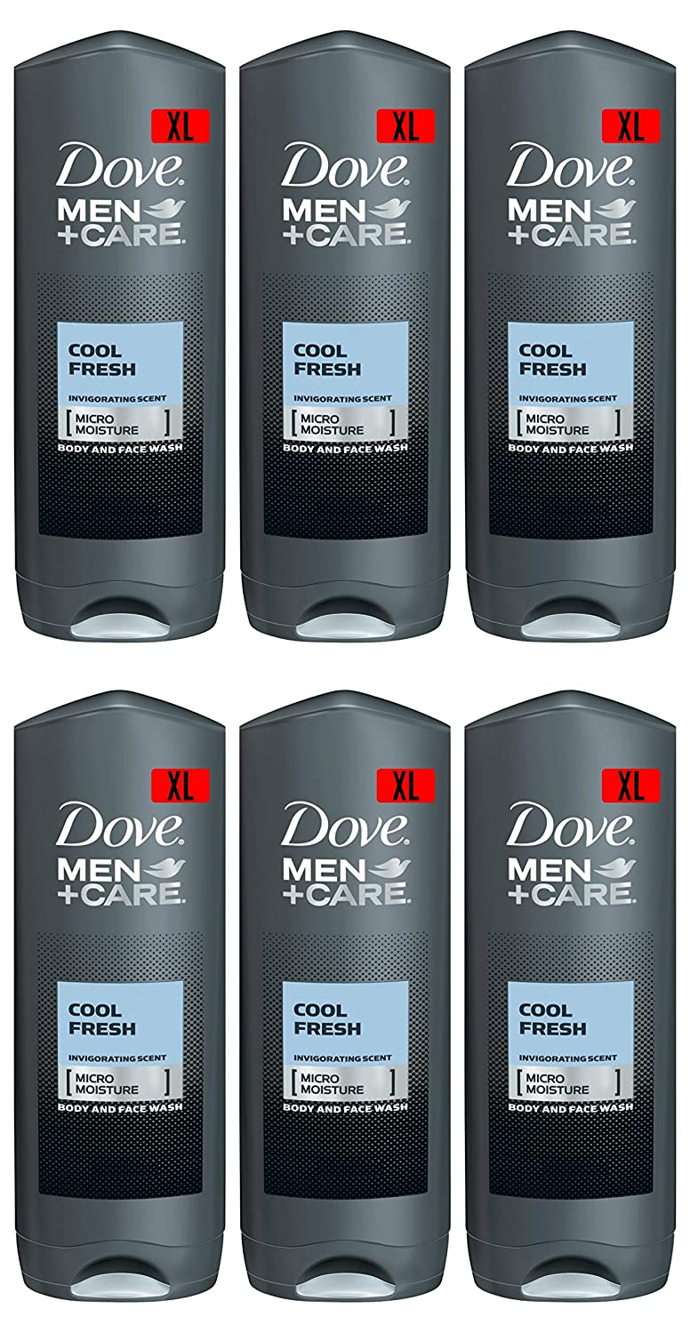 Dove Men Care Body & Face Wash, Cool Fresh - 13.5 Fl Oz / 400 mL X 6 Pack Case, Made in Germany