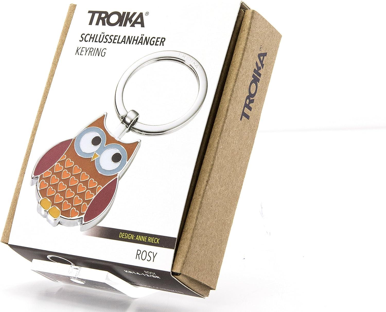 Troika Rosy KR14-13//BR Porte-cl/és en Forme de Chouette Chrom/é Brillant Marron