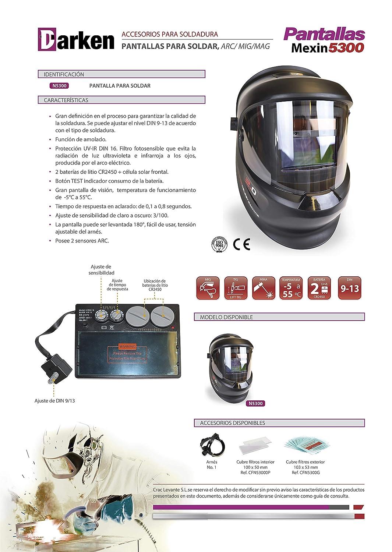 Mascara de soldadres00 FEENGG Careta para soldar DIN 9-13 oscurecimiento autom/ático MIG-mag y TIG Casco de Soldadura MMA
