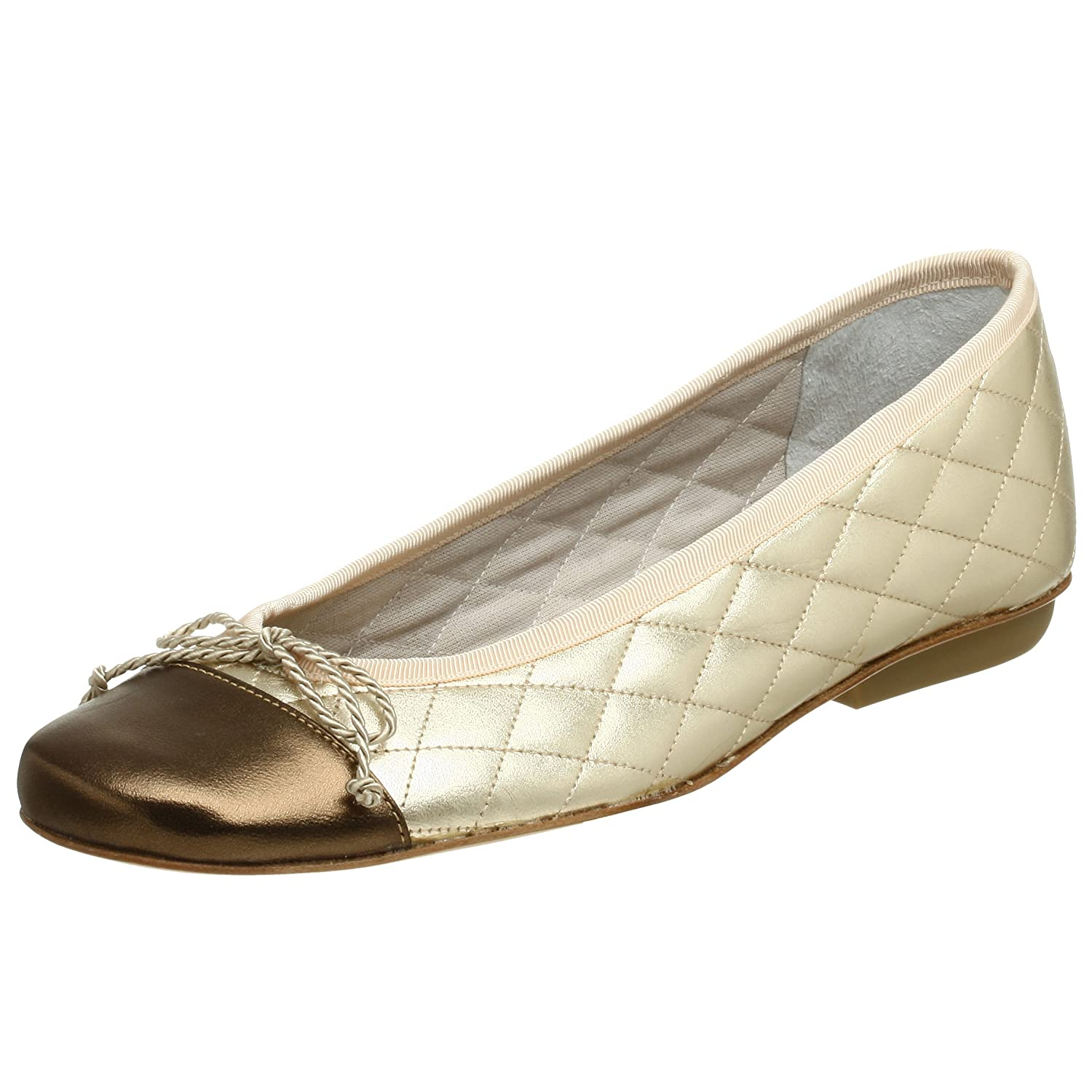 French Sole FS/NY Women's Passport Ballet Flat B0012EPN8C 6 B(M) US|Pewter/Gold