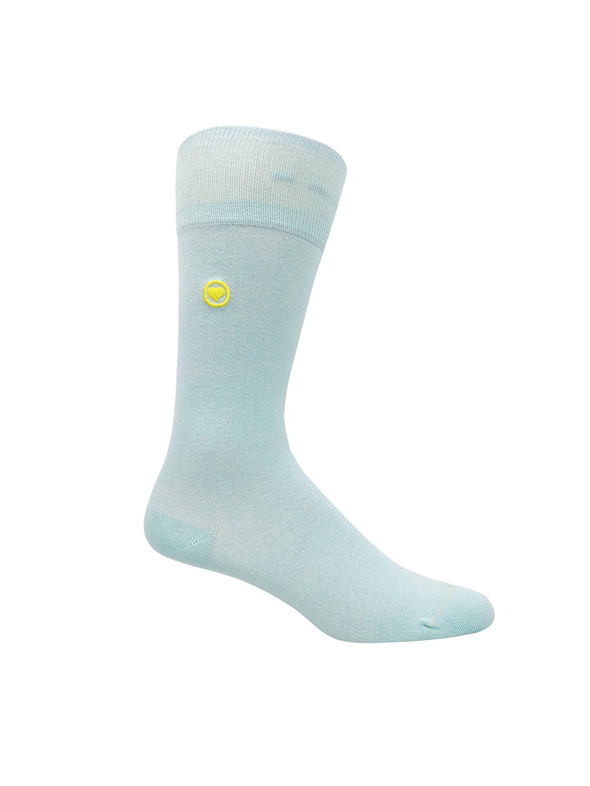 LOVE SOCK COMPANY Men's Blue dress socks. 98% organic cotton premium mens socks.