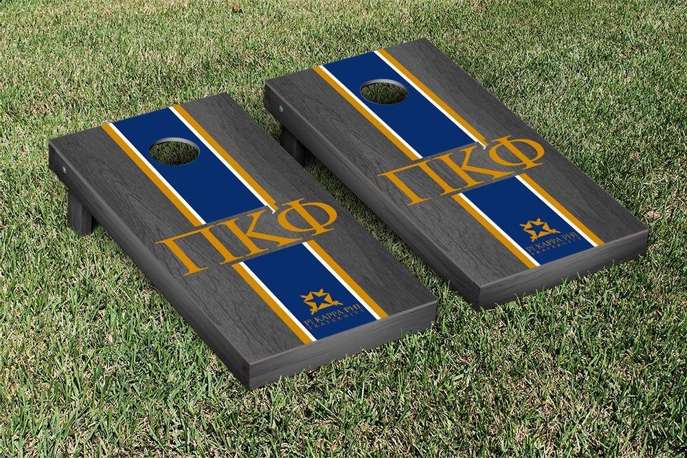Pi Kappa Phi Cornhole Game SetオニキスStainedストライプバージョン B00Q5334L8