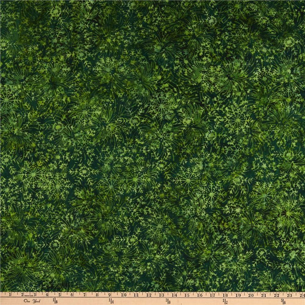 Island Batik Candy Cane Lane Large Snowflake Green Apple Fabric