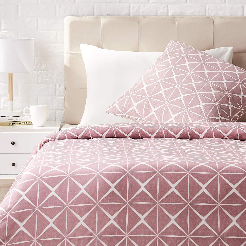 AmazonBasics - Juego de ropa de cama con funda de edredón, de satén, 135 x200 cm / 80 x 80 cm x 1, Malva cuarzo