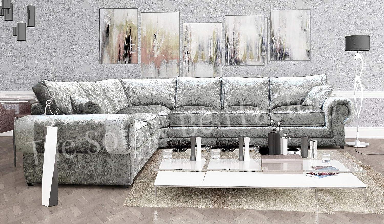 Lara Large 6 Seater Full Silver Crushed Velvet Cheap L Shaped Corner Sofa 2 C 3 | EBay