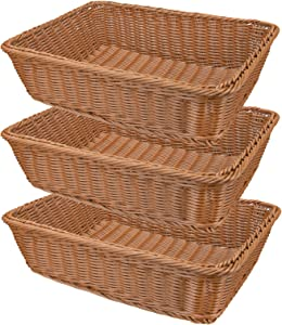 Yarlung 3 Pack Imitation Rattan Woven Bread Baskets, 11.7 Inch Poly Wicker Fruit Baskets for Food Serving, Display, Vegetables, Home Kitchen, Restaurant, Outdoor, Brown Rectangular