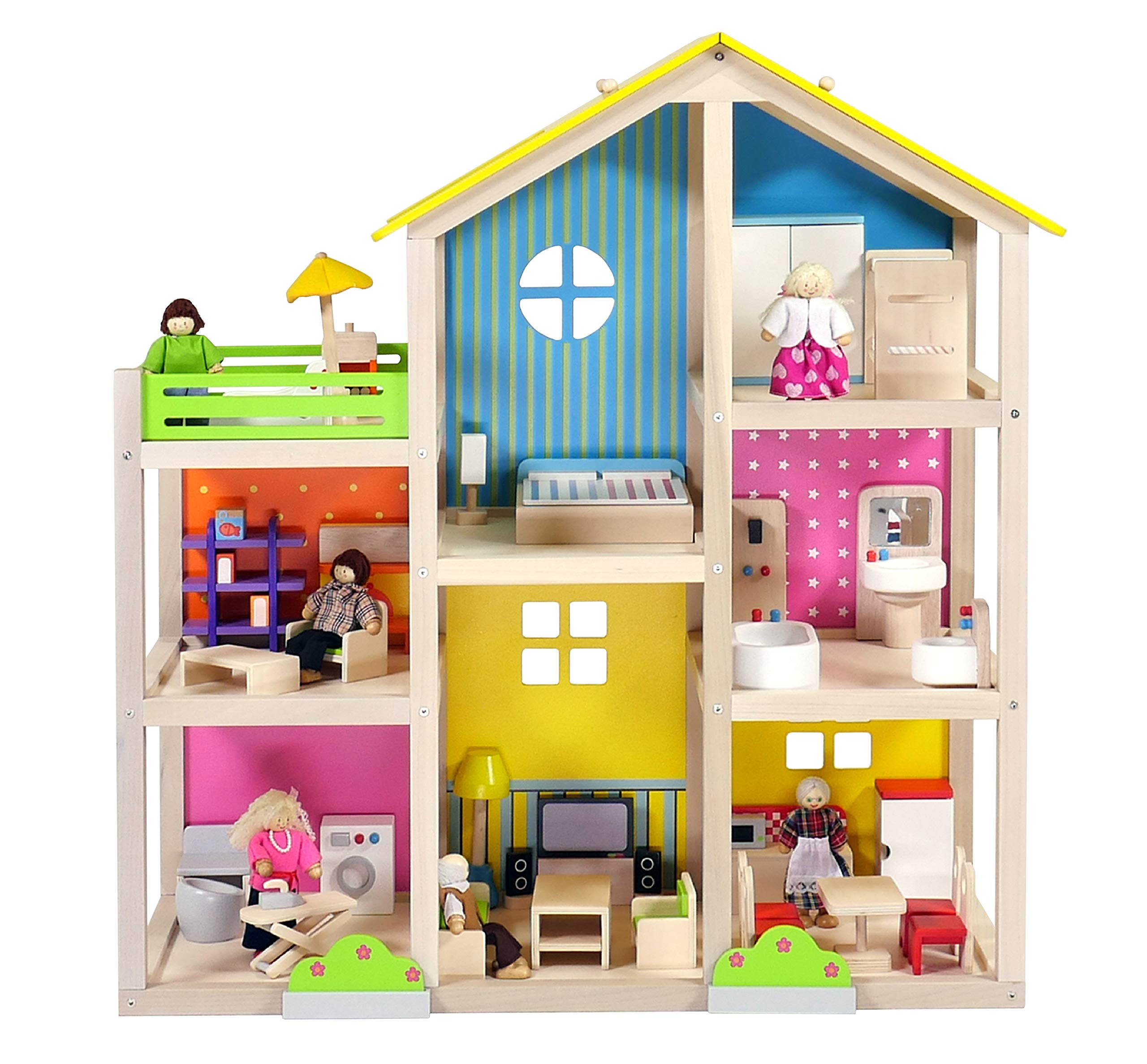 Brainsmith 3 Level Wooden Dollhouse Set With 40 Piece Mini Wooden Furniture And Accessories Non Toxic Educational Role Play Toy For Kids 3 8 Years Buy Online In Dominica At Dominica Desertcart Com Productid 113859452