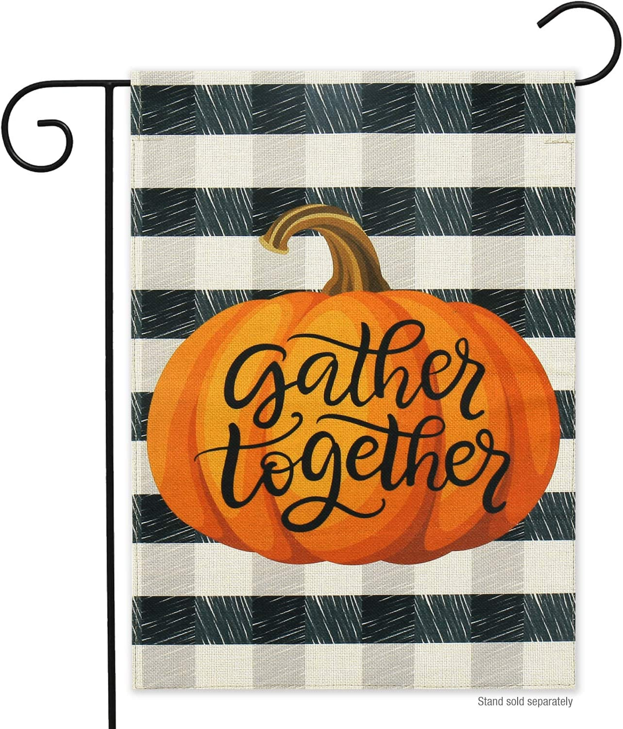 Fall Pumpkin Burlap Thanksgiving Garden Flag- 12 x 18 Double Sided Print Autumn Buffalo Plaid Vertical Garden Yard Flags for Farmhouse Rustic Halloween Home Décor Gather Together Flag