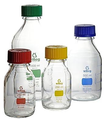 Botellas de laboratorio 100 ml GL45 azul graduado con tapón de rosca y anillo de verter