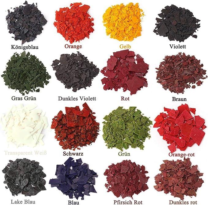 Tinte para velas de cera, tintes en escamas para fabricar velas, 16 colores de tinte, una gran selección de colores, 4,2 g cada color.