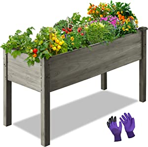 LZRS 47x22x30 inches Raised Garden Bed Elevated Wooden Planter Box Stand with Legs for Herbs,Vegetables,Flowers,Great for Outdoor Patio, Deck,Grey