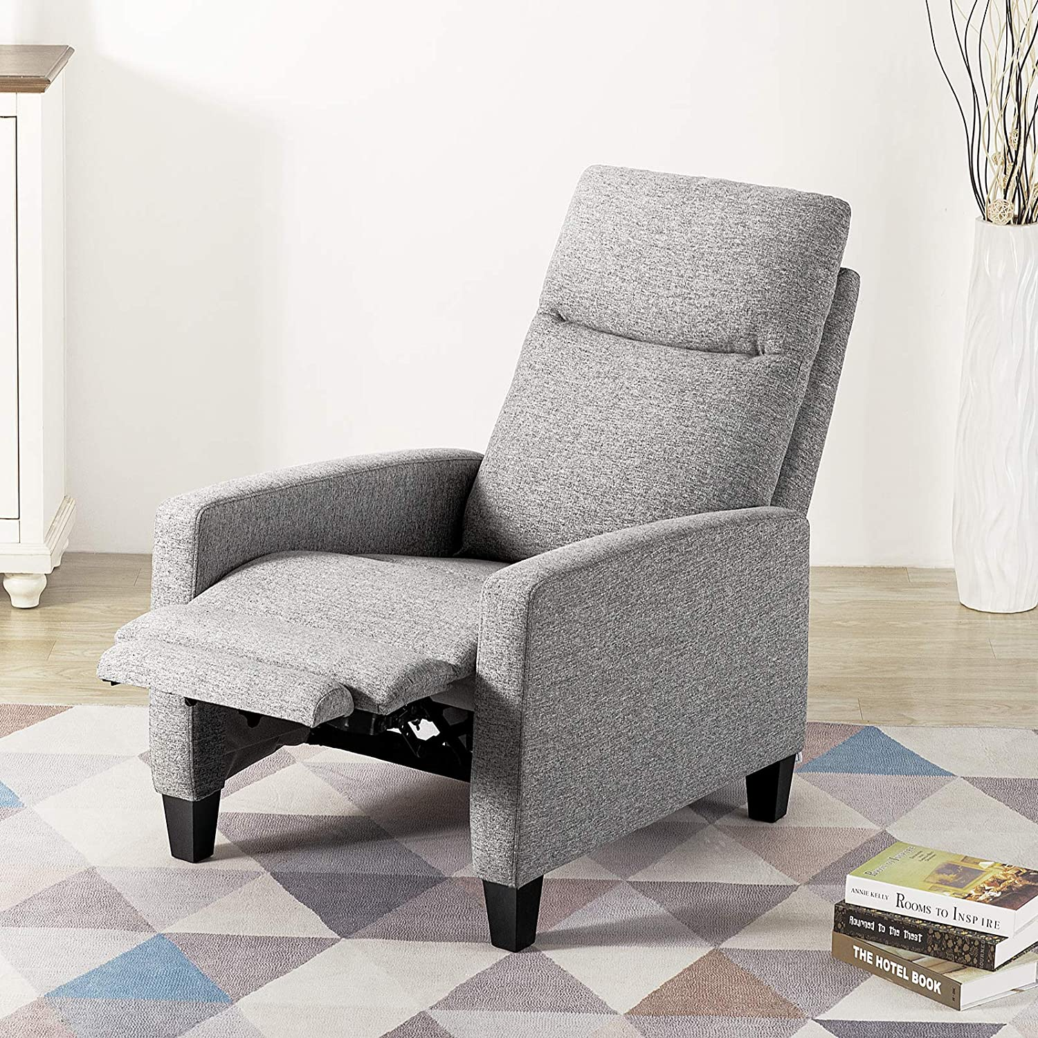 Vonanda Fabric Recliner Chair Adjustable Reading Chair for Living Room Home Theater Seating Modern Chaise Lounge Chair(Grey,Yellow)…