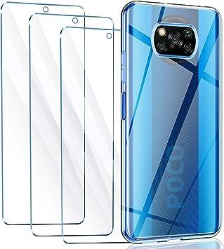Reshias Funda para Xiaomi Poco X3 NFC con Dos Cristal Templado Protector de Pantalla Suave TPU Transparente Gel Silicona Protectora Carcasa para Xiaomi Poco X3 NFC 6.67