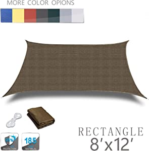 LOVE STORY 8' x 12' Rectangle Brown Sun Shade Sail Canopy UV Block Awning for Outdoor Patio Garden Backyard