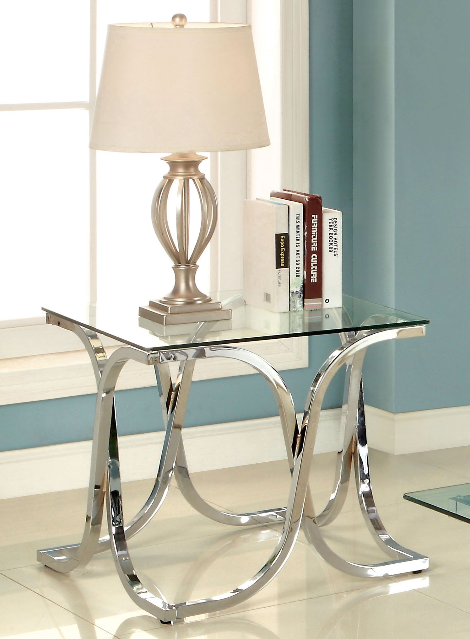 Furniture of America Kavetto Contemporary End Table, Chrome