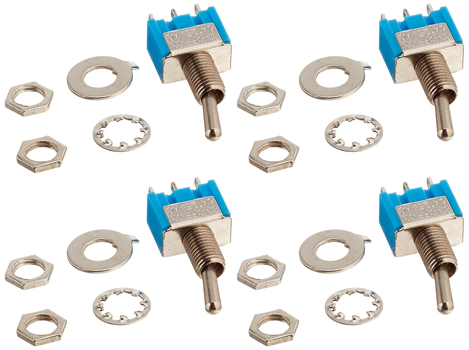 URBEST 4Pcs AC 125V 6A 3 Pin SPDT On/Off/On 3 Position Mini Toggle Switch Blue