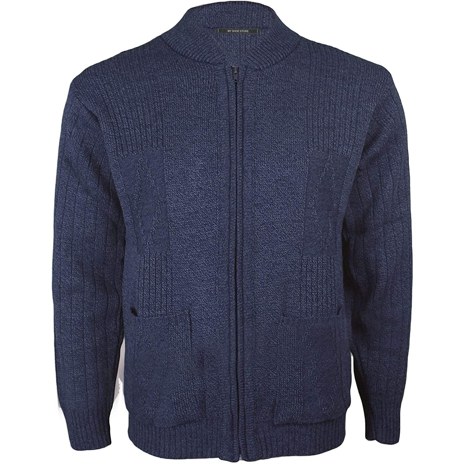 Mens Gents Knitted Vintage Grandad Style Classic Zipper Plain Zip Up Cardigan