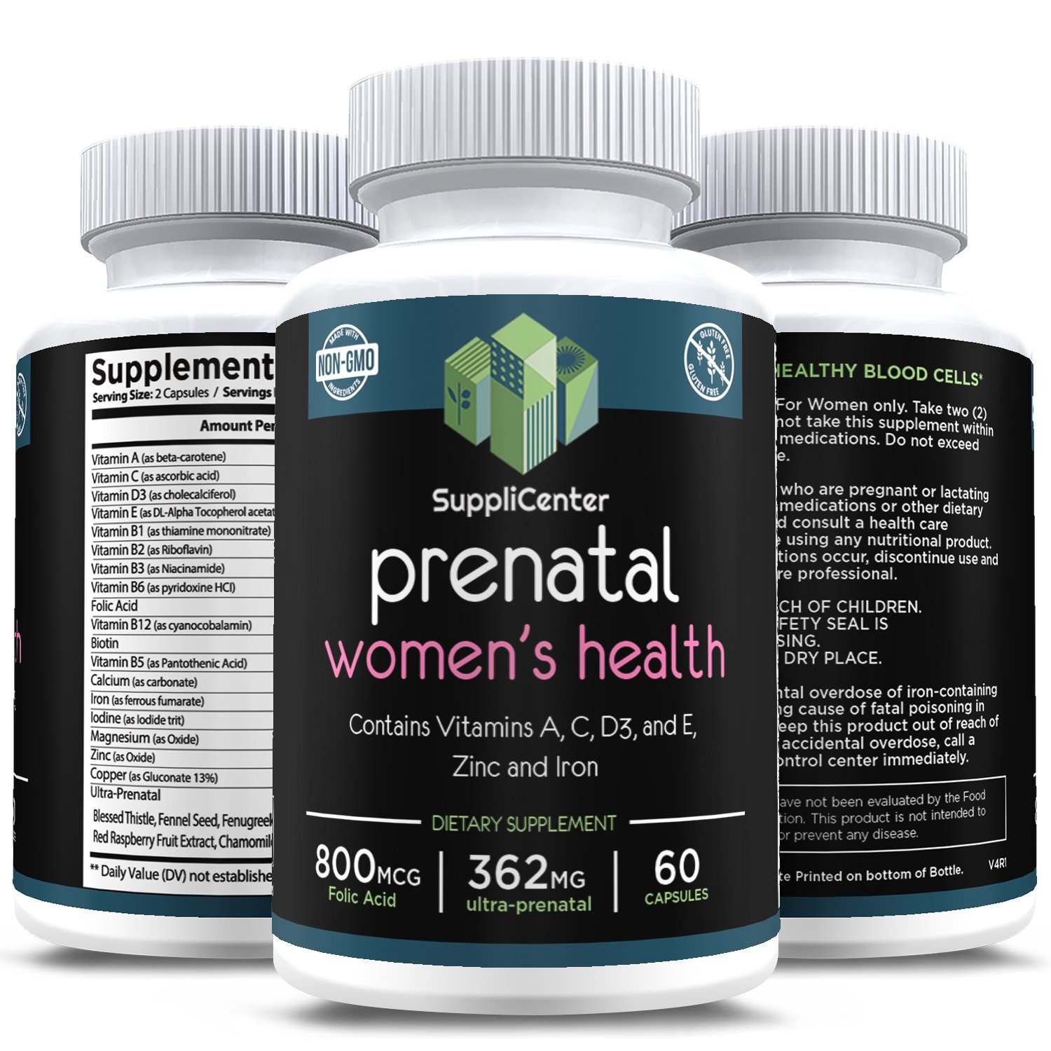 Amazon.com: SuppliCenter Womens Health Prenatal Multi Vitamin, w/Vitamin A,C,D3, E, Zinc and Iron, 362mg Ultra-Prenatal 60 Count (60): Health & Personal ...