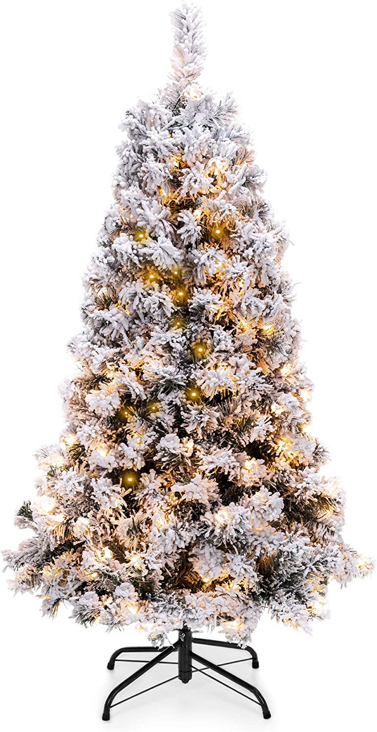Best Choice Products 4.5ft Pre-Lit Snow Flocked Artificial Christmas Pine Tree Holiday Decor w/ 200 Warm White Lights