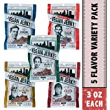 Louisville Vegan Jerky - 5 Flavor Variety Pack, Source of Protein for Vegans and Vegetarians, Low Fat (Black Pepper, Chipotle, Sriracha Maple, Maple Bacon, Carolina BBQ, 3 oz.)