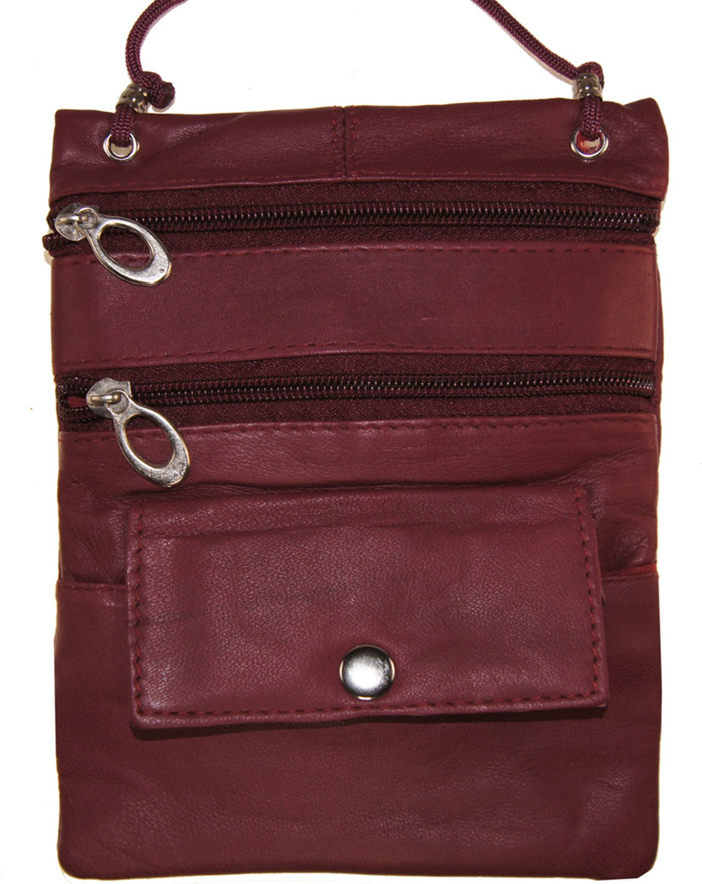 Leather Travel Neck Pouch Holder Passport Id Wallet Burgundy Security Bag Lanyard