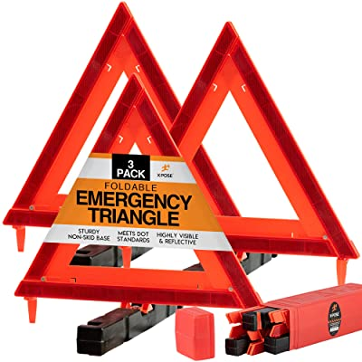 Xpose Safety Reflective Emergency Triangles 3 Pack - Roadside Car Safety and Warning Tool - DOT Approved Triangle Reflectors - Red and Orange Automotive Vehicle Road Visibility and Hazard Marker: Automotive
