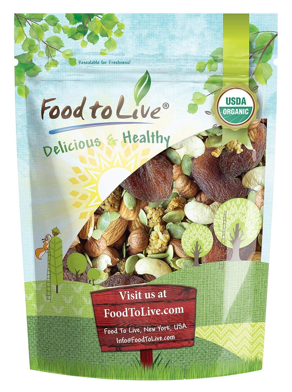 Organic 6-Forces Trail Mix, 8 Ounces — Raw, Non-GMO, Mulberries, Cashews, Pumpkin Seeds, Apricots, Hazelnuts, Almonds. Vegan Superfood, Kosher, No Added Sugar, Bulk