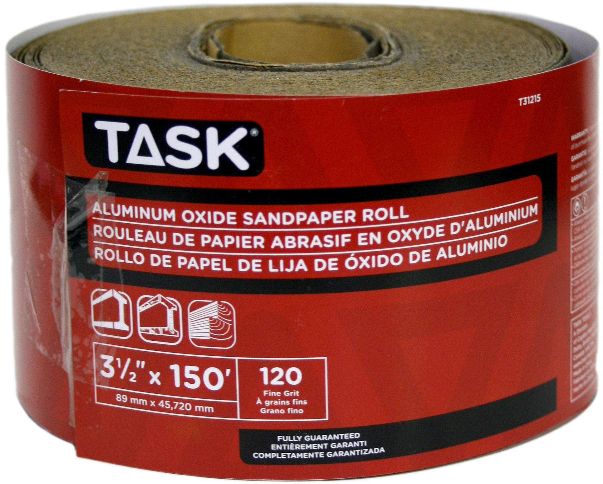 Task Tools T31215 3-1/2-Inch by 50 Yards Aluminum Oxide Sandpaper Roll, 120 Grit