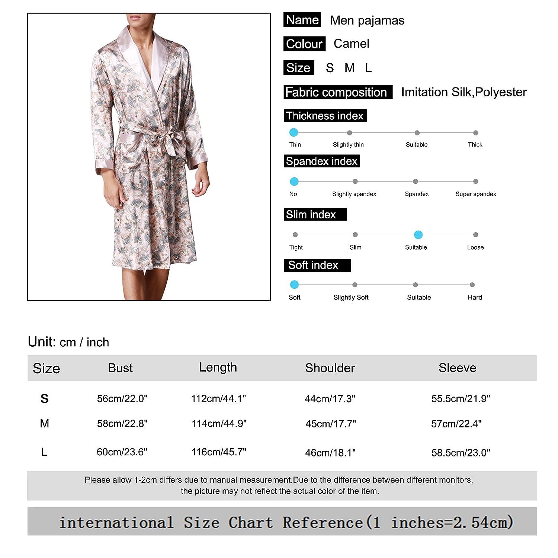 d6f4de1e41ce05 Sidiou Group Kimono Robe Morgenmantel Herren Satin Kimono Lang Satin  Nachthemd Nachtw?sche Schlafanzug Bademantel Nacht Robe (Kamel, S):  Amazon.de: ...