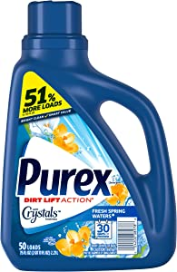 Purex Liquid Laundry Detergent with Crystals Fragrance, Fresh Spring Waters, 75 oz (50 loads)