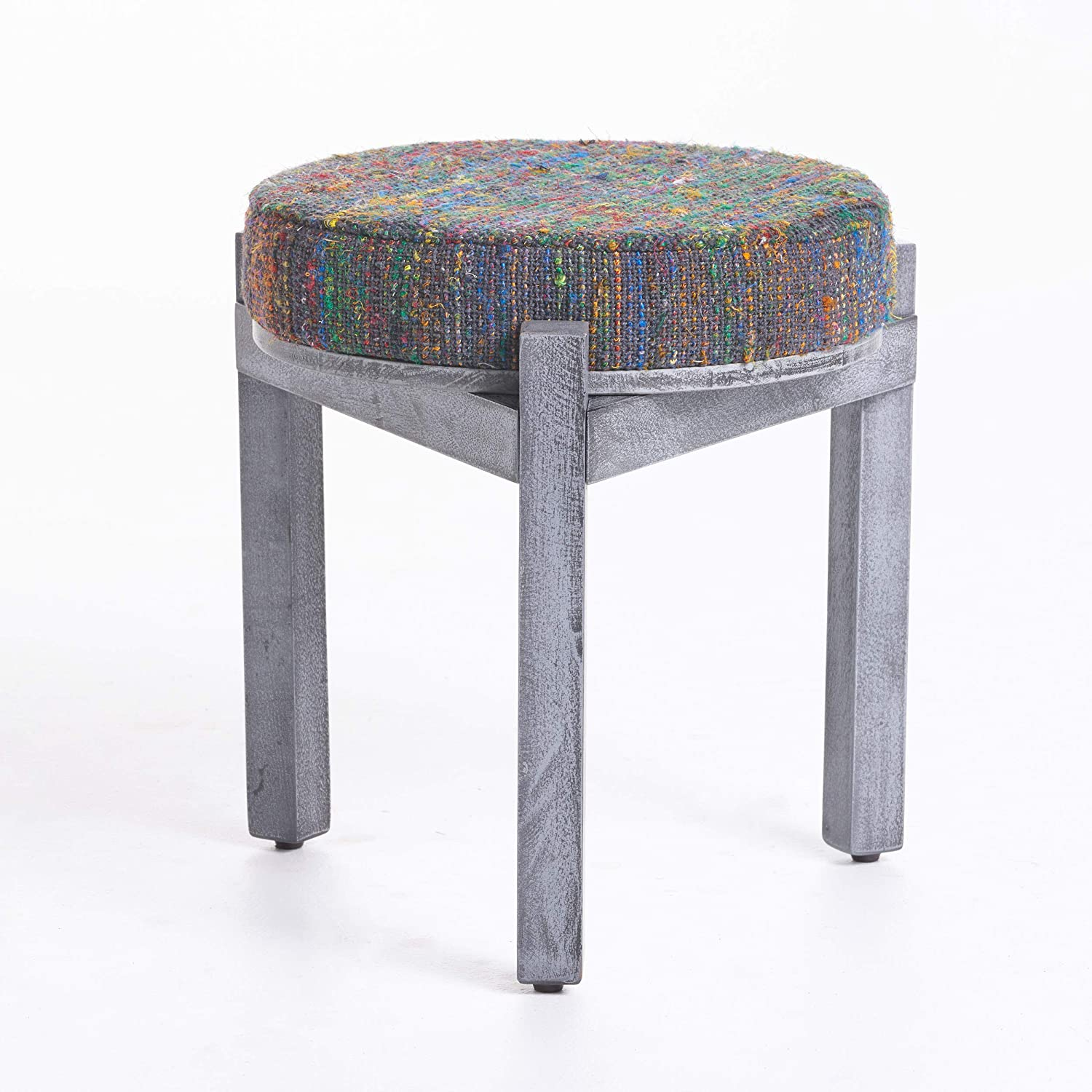Christopher Knight Home Dashiell Fabric Stool with Mango Wood Frame, Multi / Grey