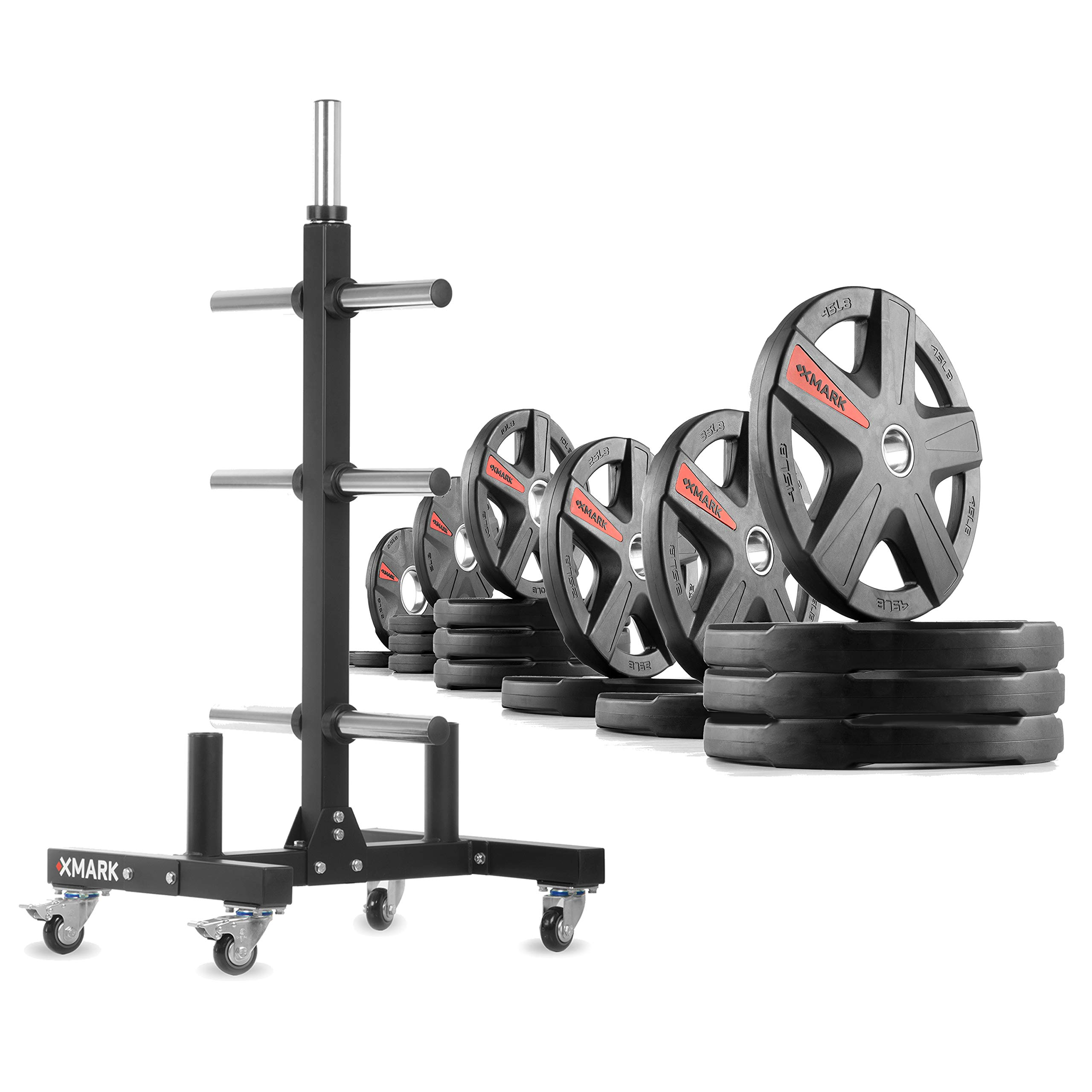XMark XM-9055 Commerical Olympic Weight Tree Plus a 365 lb Set of Texas Star Olympic Plates by XMark