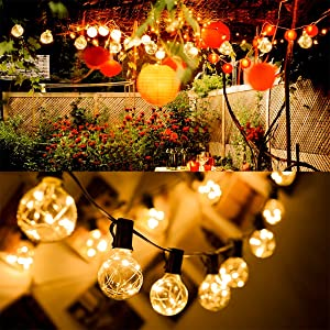 BRINLHEART LED Solar String Lights Outdoor and Indoor Use 15 LED Light Plastic Bulbs 36 Ft Solar Battery Plug in Power Adapter Shatterproof Waterproof,Hanging for Bistro Pergola Deckyard Porch Garden