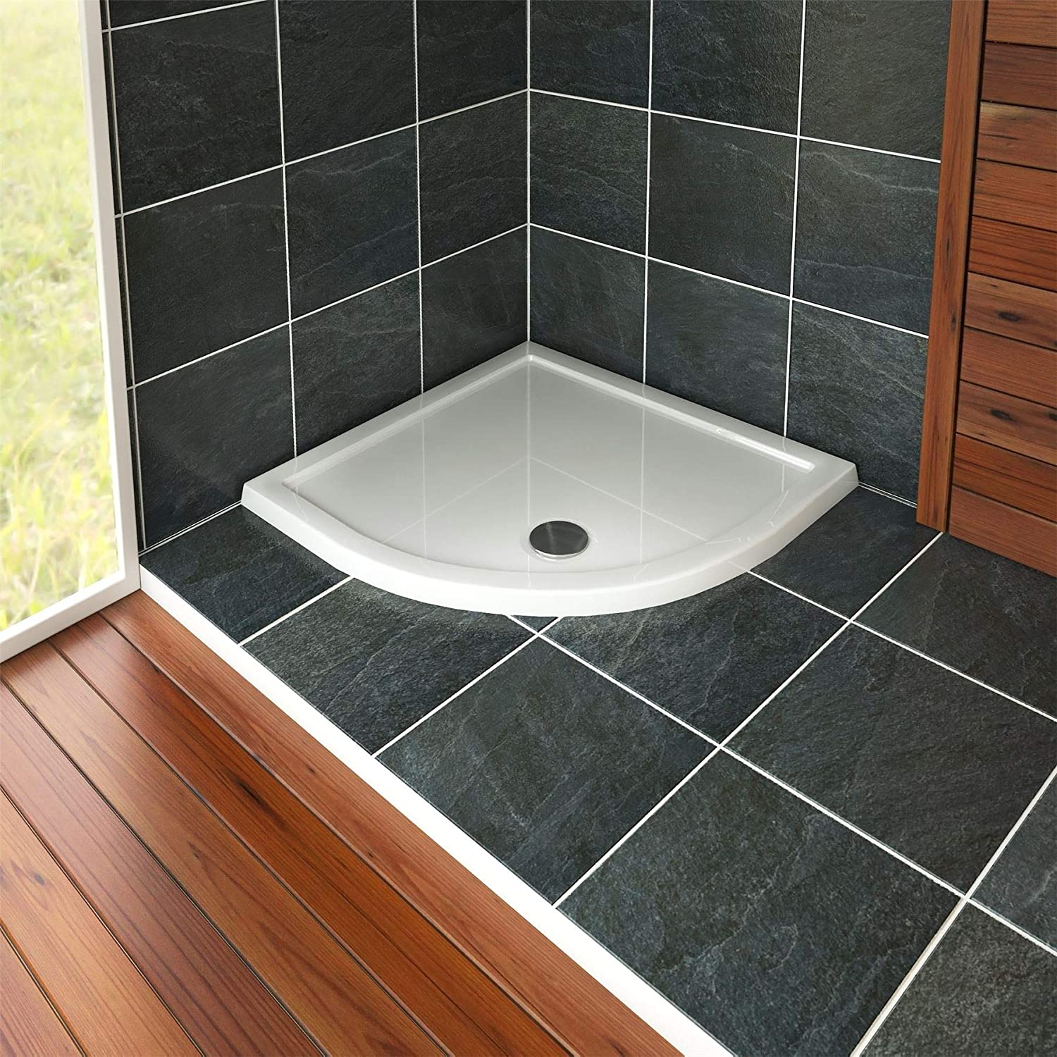 Quadrant 800 x 800mm Shower Tray Pearlstone for Shower Enclosure Cubicle with Waste Trap